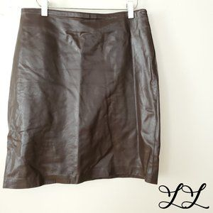 Vintage Leather Skirt Brown Lined Straight Finity